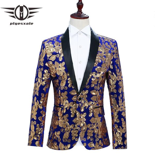 Plyesxale Floral Blazer Men Slim Fit Mens Sequin Jacket Singer DJ Party Stage Blazers Prom Wear Black Royal Blue Red Grey Q286