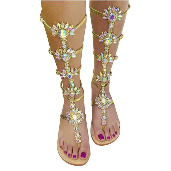 2019 Summer Flats Sandal Gladiator Gold Rhinestone Knee High Buckle Strap Woman Boots Bohemia Style Crystal Beach Shoes