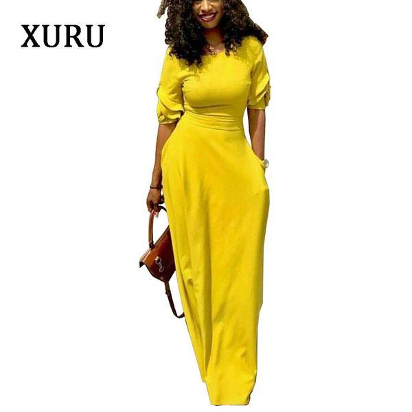 Xuru 2019 autunno abito a matita nero giallo rosso mezza manica slim attese tasche abiti lunghi elegante signora casual party dress Y19051102