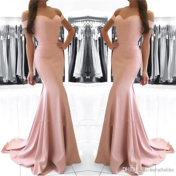 Cheap Blush Pink Mermaid Prom Dresses Long 2018 Off Shoulder Sexy Backless Floor Length Formal Dresses Evening Dresses