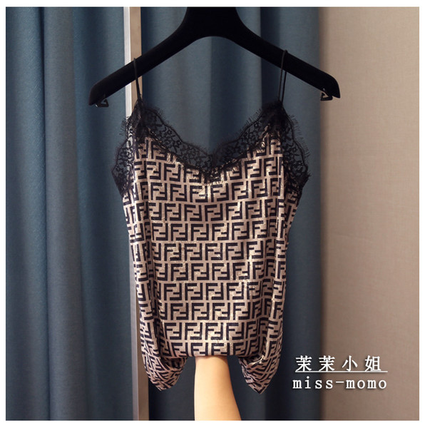 best selling 2020 new fashion women's sexy spagheti strap letter print v-neck vest camisole loose eyelash lace patched velvet tank tops
