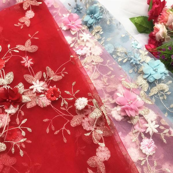 GLace 3 M / lote 3D flor de gasa de uñas bordado de cuentas de tela de malla de encaje vestido de niña accesorios de tela DIY Craft TX1243
