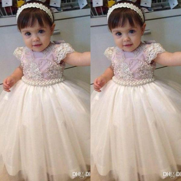 Compre Vestidos Elegantes Para Niñas De Flores Vestidos De Desfile 2019 Perlas Con Cuentas Vestidos De Primera Comunión Para Niñas Vestido De Niñas
