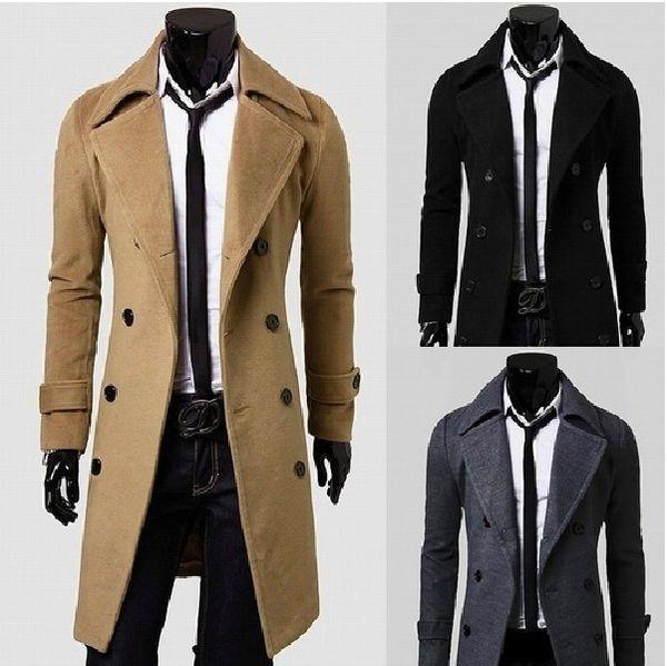 Hombres primavera otoño abrigo largo casual grueso tweed abrigo moda lana doble botonadura color sólido rompevientos negocios gabardina