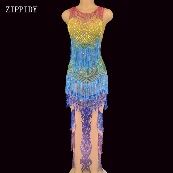 2020 transparent colorful rhinestones fringes dress mesh see through crystals dress evening birthday celebrate costume - from $204.75