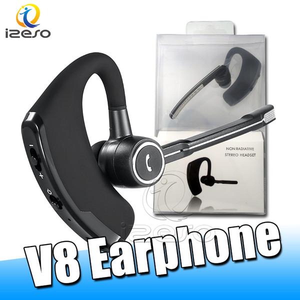 V8 Bluetooth наушники Беспроводные наушники Бизнес Handsfree Legend Stereo Беспроводные наушники с микрофоном автомобиля регулятором громкости с розничной коробкой