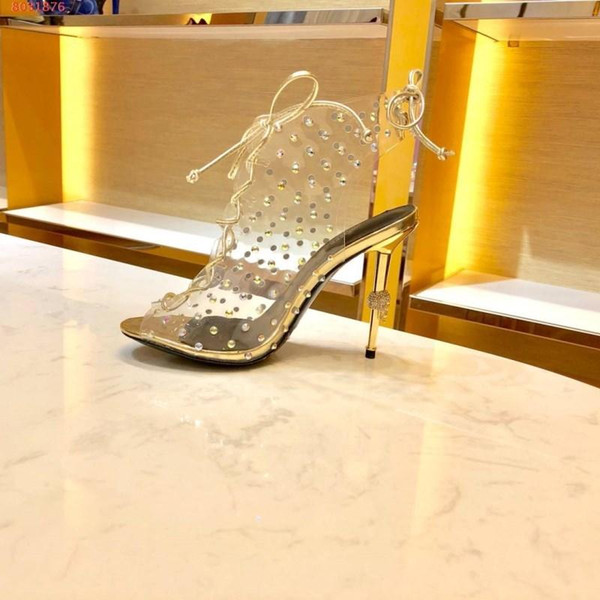 Boots High Heels Women Sandals, Mid Crystal Transparent Sole Gold Leather Pumps for Fashion Lady in Party Wedding