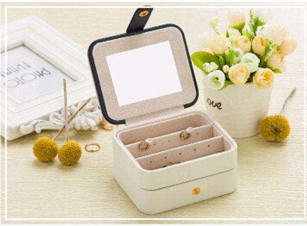 Jewelry Storage Box Leather Ear Nail Earring Organizer Korean Creative Travel Portable Necklace Bracelet Small Case