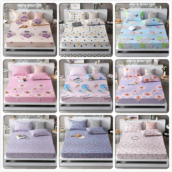 Creative Pattern Fitted Sheet Mattress Cover With Rubber Elastic Band for Bed Kids Single Double