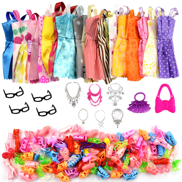 32 Item/Set Doll Accessories=10 Pcs Doll Clothes Dress+4 Glasses+6 Plastic Necklace+2 Handbag+10 Pairs Shoes for Barbie doll