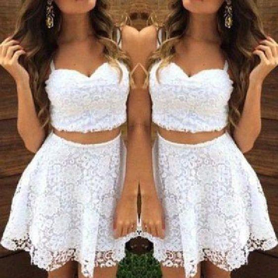 White Lace 2 Pieces Cocktail Party Dresses 2019 Spaghetti Sweetheart Short Prom Dress Graduation Dress For Juniors Formal Evening Gowns