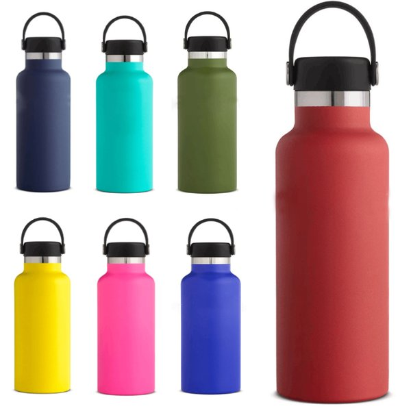 18oz Stainless Steel Vacuum Insulated Water Bottles New Double Wall Leak Sports Mug Cup Mouth Lid Cap Flex Cap Cups For Drinking HH7-1350A