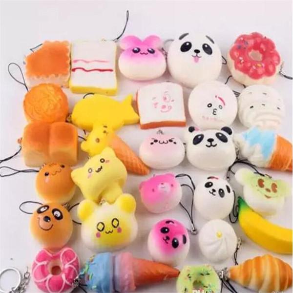 Kawaii squishies Bun Tost Donut Ekmek cep telefonu Çanta Charm sapanlar Toptan karışık Nadir Squishy yavaş yükselen kordon kokulu için