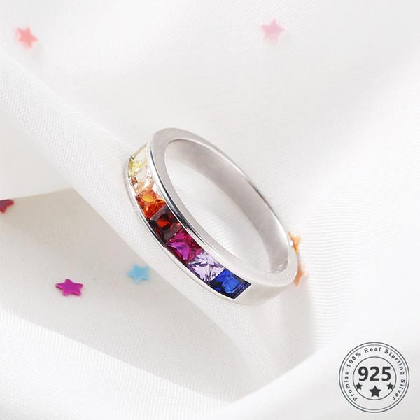LouLeur Real стерлингового серебра 925 Циркон Кольца Красочные конфеты цвета Симпатичные Романтичные кольца для женщин Свадебные украшения подарок на день рождения