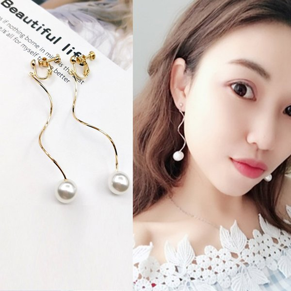 JIOFREE 2019 New Style Gold Silber Simulierte Perle Ohrclips Ohne Piercing Fashion Women Simple Style Jewelry