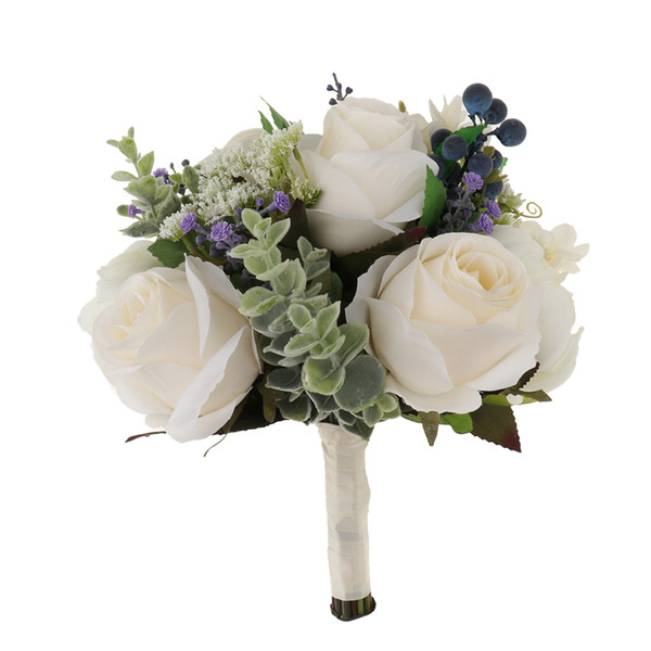 Gorgeous Wedding Silk White Bouquet Rose Blueberry Wedding Bridal Bouquet Hand Holding Flowers Or Decorate Restaurant Home