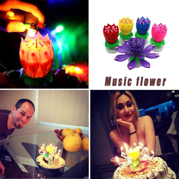Gâteau d'anniversaire Musique Bougie Double fleur Blossom plat Rotating musique électronique de soirée de mariage Décoration