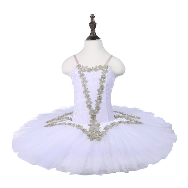 White Swan Lake Ballet pattern Tutu Costume Girls Children Ballerina Dress For Girls Kids Ballet pancake Dress Dancewear
