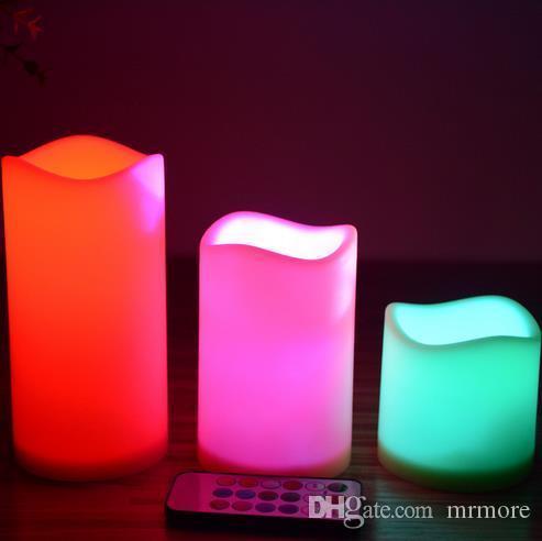 LED Velas Sin Llama Control Remoto 12 Cambio de color Led Set Romántico Lámpara de Vela Decoración de Navidad de Boda 3 tamaño Luz de Vela