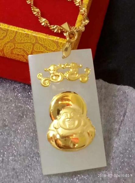 Koraba Fine Jewelry 24K Gold Chinese White Jade Buddha Pendant Rope Necklace Women Men Classic Gemstone Necklace