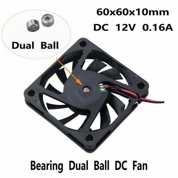 2pcs 12V 2Pin Ball Bearing 6cm 60mm x 60mm x 10mm DC Brushless Cooling Case Fan