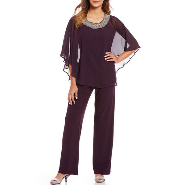 Classy Beaded Mother Of The Bride Pant Suits Two Pieces Wedding Guest Dress Chiffon Plus Size Long Sleeves Mothers Groom Dresses