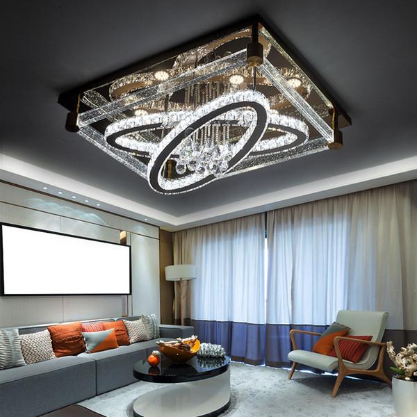 Großhandel Einfache Moderne Kreative Rechteckige Deckenleuchte Oval LED  Kristall Lampen Wohnzimmer Restaurant Schlafzimmer Hotel Deckenleuchten ...