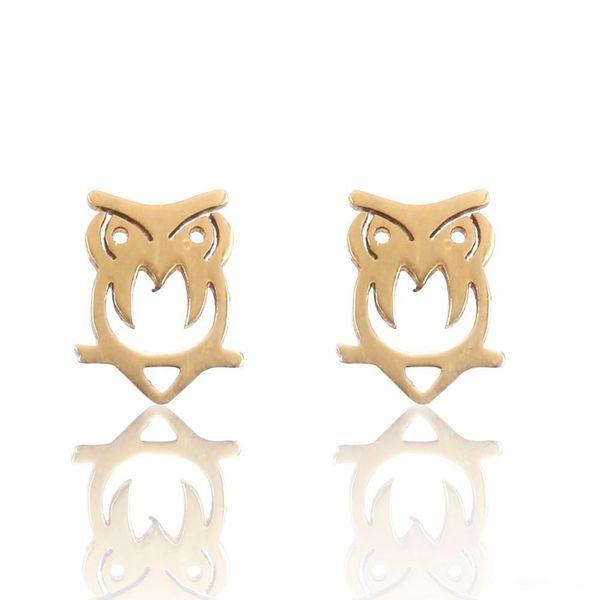 Tiny Owl Нежные серьги-гвоздики Простые серьги из нержавеющей стали для девушки Модные ювелирные изделия оптом Бесплатная доставка
