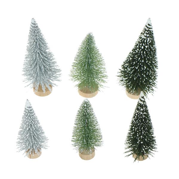 3Pcs Christmas New Year Natal Sisal Navidad Snow Frost Mini Christmas Tree Decor For Home Tree Decorations