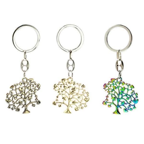 Orijinal Moda Antik Bronz Renk / Altın Renk / Gökkuşağı Renk Isteyen Ağaç Charm Kolye Anahtarlık Anahtarlık DIY Takı Doğum Günü Hediyesi