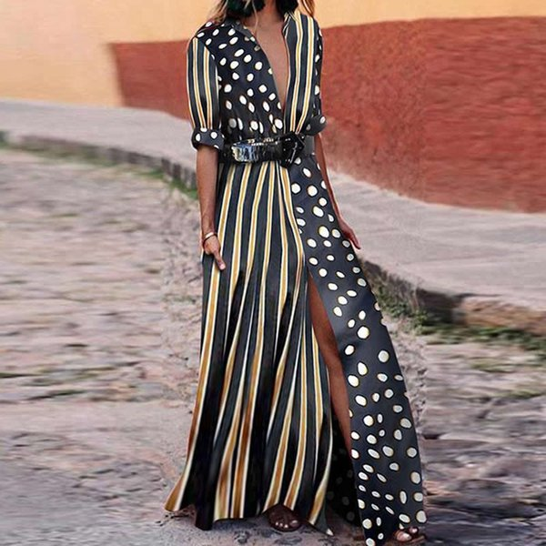 Bohemia Strip Dot Printed Dress Mujeres Summer Beach Loose Dress Plus Size xxxl Chiffon Casual Streetwear Vestidos Vestido Femme