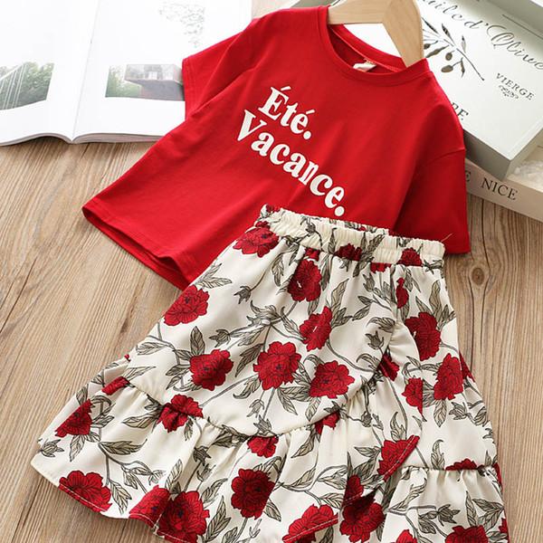 neuer Kindersommer kleidet Mädchen Ausstattungs-Art- und Weisemädchen-Klage-Kind-Satz-T-Shirt + langer mit Blumenrock scherzt Entwerfer kleidet Mädchen Kleid-Klagen A5248