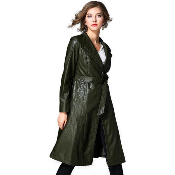 Новая кожаная куртка женщины длинное пальто Женский с длинным рукавом О-образным вырезом PU ветровка мода повседневная пальто осень зима женская куртка