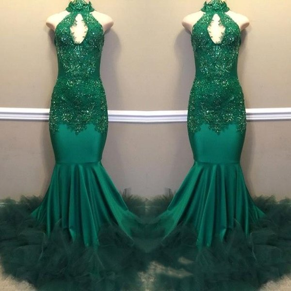 Designed 2019 Green Prom Dresses Mermaid Keyhole Neck Appliques Sequins High Collar Long Evening Gowns Long BC1811