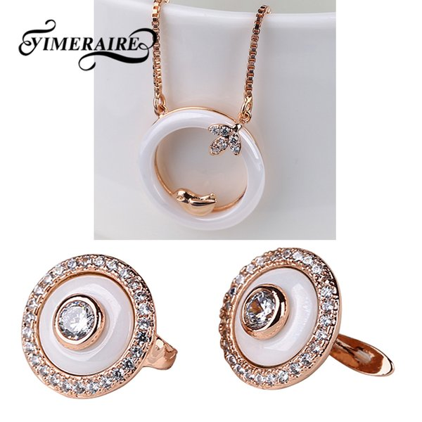 New 585 Rose Gold Ceramic Women Jewelry Set Rhinestone Round Stud Earrings Cute Bird Pendant Necklace For Lady Anniversary Gifts