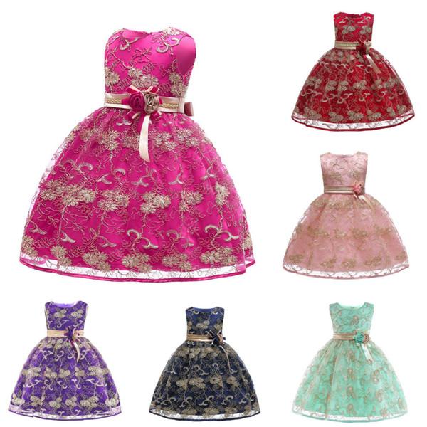 Kleid der Kinder 2019 neue Prinzessin Kleid Goldstickerei Tutu Kleid Mädchen