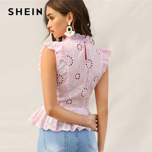 SHEIN Pink Ruffle Trim Lace Eyelet Embroidered Peplum Top Sleeveless Blouse Women Summer Stand Collar Slim Fitted Boho Blouses Y190423