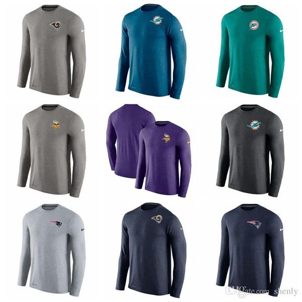 NEW 2019 Mens T Shirts Rams Dolphins Vikings Patriots Saints Giants Long Sleeve Performance T-Shirt Team & LOGO 100% COTTON