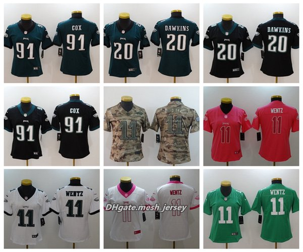 timeless design b616e e88c1 2019 Women Philadelphia Eagles American Football Jersey 11 Carson Wentz 20  Brian Dawkins 91 Fletcher Cox Color Rush Stitching Jerseys From Fresh001,  ...