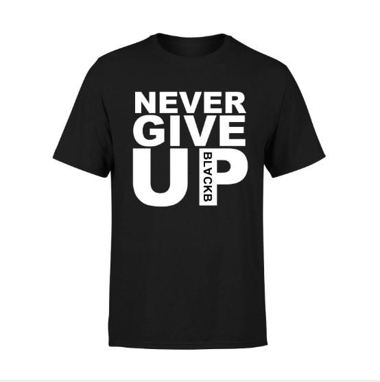 Mens Summer Tshirt Never Give Up Letter Printing Round Neck Short Sleeve Tee Color Black Asian Size S-2XL