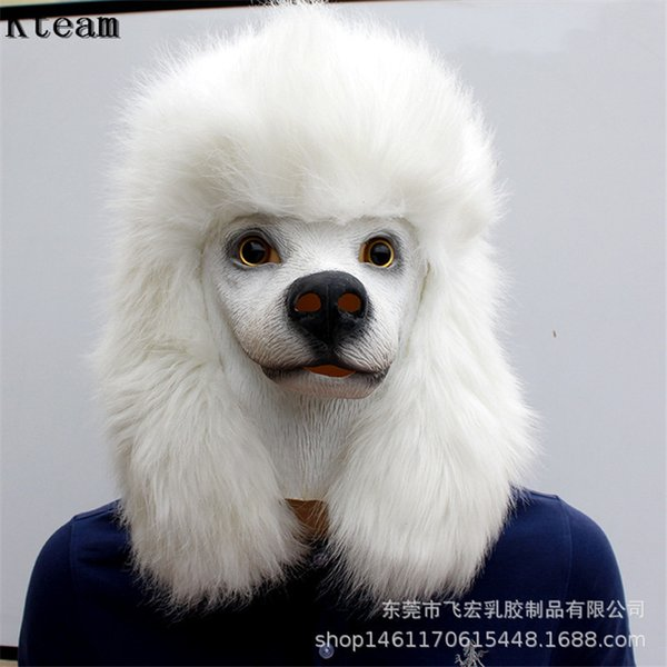 Hot Sale Christmas White Poodle Dog head Party Mask Latex With Further Animal Cosplay Fancy Dress Masks Adult Funny Costume Props