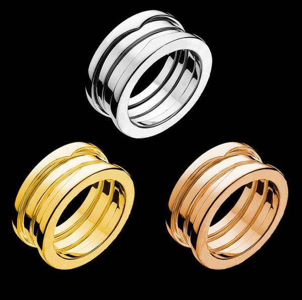 Jóias em aço inoxidável 316L prata ouro rosa Cor anéis de primavera mulheres homens casamento jewlery casal anel do amante