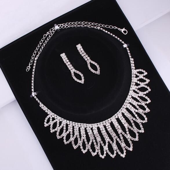 Новый свадебный комплект украшений невесты преувеличены имитация алмаза коготь цепи ожерелье серьги наборы женщин многослойные горный хрусталь комплект ювелирных изделий