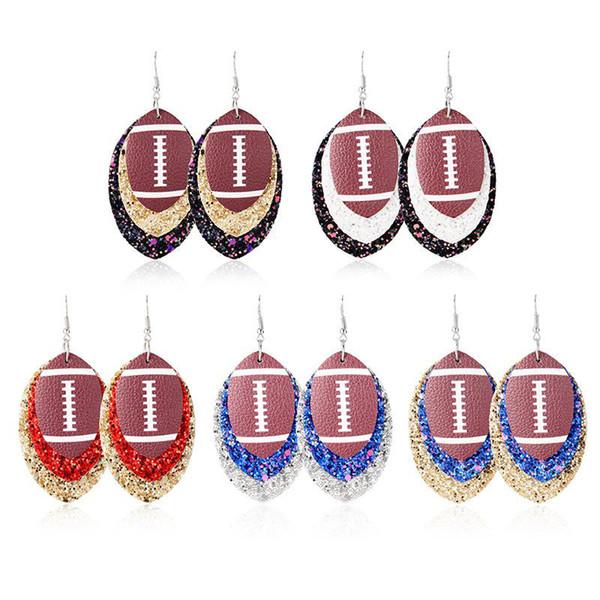 Style 5 Football Sport Pu cuir Boucles d'oreilles Rugby Paillettes Feuille de baseball Boucles d'oreilles femmes Lady Accessoires de mode Bijoux Party Favor