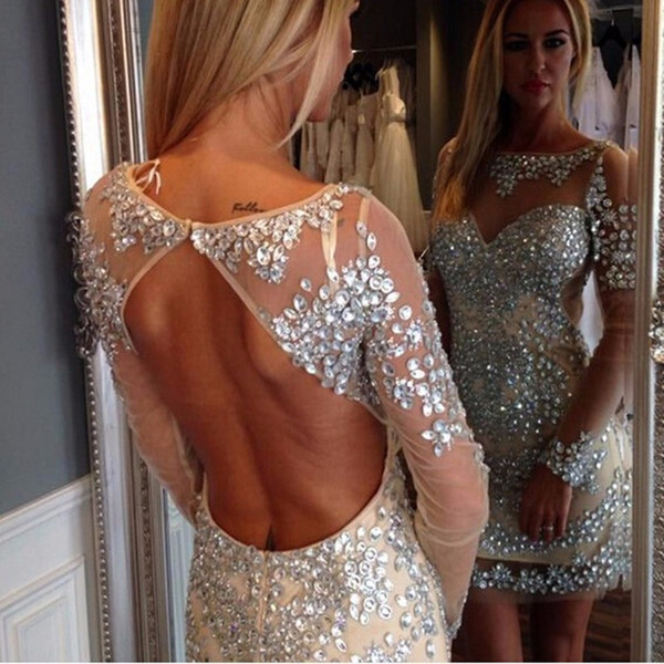 Hot Sale Heavy Crystal Tulle Straight Cocktail Dresses With Long Sleeves Sexy Open Back Short Prom Party Gown Vestidos De Festa Curtos