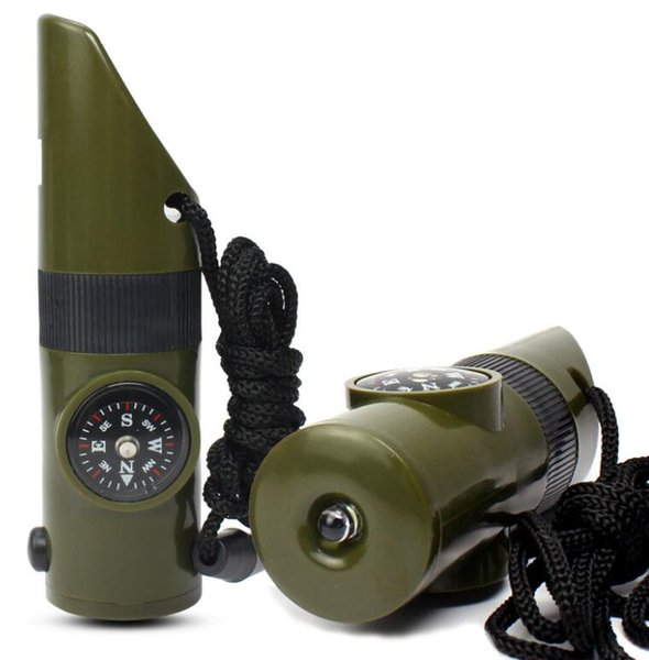 7 In 1 Survival Whistle Outdoor Multi-function Whistle Survival Whistle led Flashlight torch Compass Thermometer Magnifier Outdoor Gear