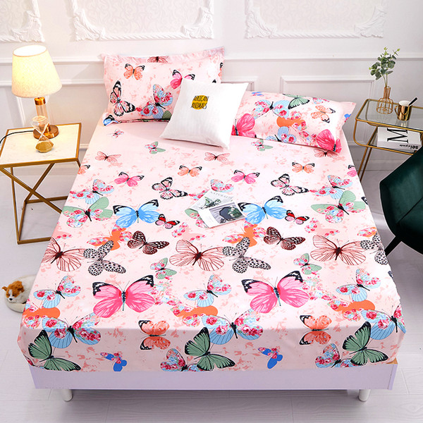 2019 New Product 100%Polyester Printed Solid Fitted Sheet Mattress Cover Four Corners With Elastic Band Bed Sheet