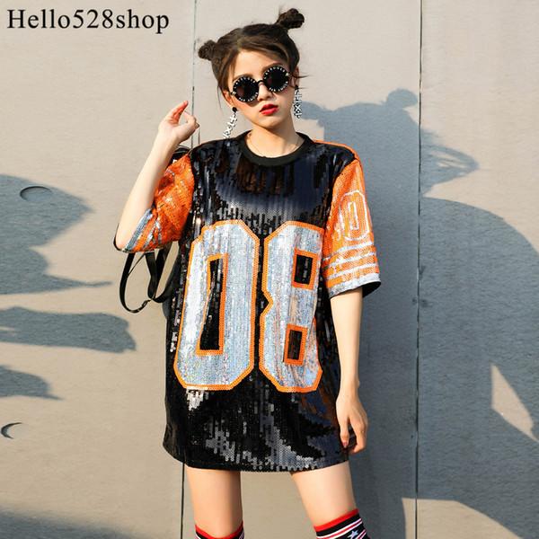 Hello528shop Womens 08 chemises t-shirt lâche paillettes costume de scène, vêtements de performance à manches courtes pour femmes tops été