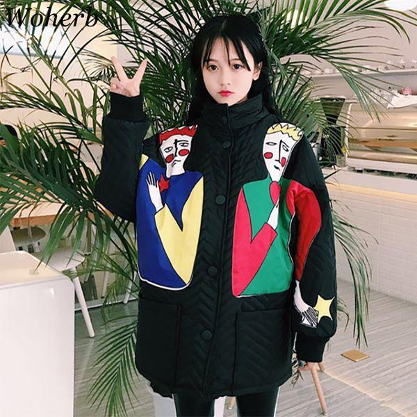 Woherb 2018 Plus Size Loose Parka Ladies Harajuku Winter Jacket Women Print Funny Cartoon Wadded Coat Korean Long Outwear 20571