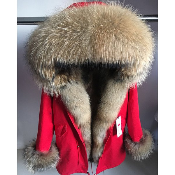 Manteau de fourrure maomaokong réel Veste d'hiver Femmes Long Parka naturel fourrure de raton laveur collier capot chaud épais réel Liner Parkas